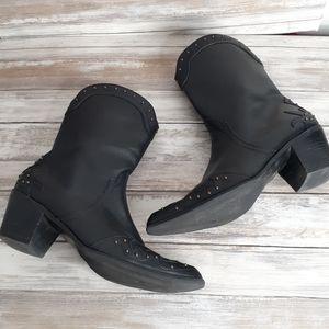 A.N.A. Black Studded Cowboy Boots Size 7.5